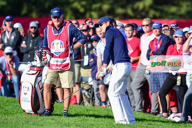 Zach Johnson (USA) chips on to 8 during the Saturday morning foursomes at the Ryder Cup, Hazeltine National Golf Club, Chaska, Minnesota, USA.  10/1/2016<br /> Picture: Golffile | Ken Murray<br /> <br /> <br /> All photo usage must carry mandatory copyright credit (&copy; Golffile | Ken Murray)