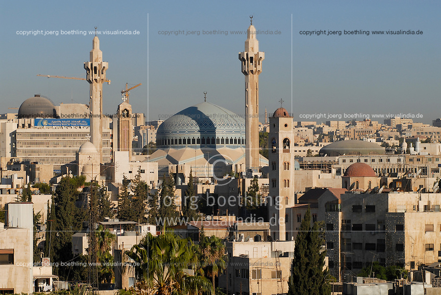 JORDAN, Amman, King I. Abdullah mosque and coptic church / JORDANIEN, Amman, Koenig Abdullah Moschee und koptische Kirche