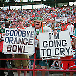 "A ""Farewell To The Orange Bowl"" celebration was held on January 26, 2008. Approximately 15,000 people watched a team of ex-Miami Hurricanes beat a team of ex-Dolphins, 65-51 in a flag-football exhibition....Press Box section demolition..The game featured former Dolphin and Hall of Fame quarterback Dan Marino, plus Mark Duper, Mercury Morris, Dwight Stephenson, A.J. Duhe, Don Strock, Jim Kiick, John Offerdahl, Jim Kelly, Bernie Kosar, Melvin Bratton, Bernie Blades, Benny Blades and Eddie Brown. The NFL's winningest coach Don Shula coached the Dolphin players while Florida Atlantic University and former Hurricanes coach (and former Dolphins assistant) Howard Schnellenberger coached the UM players..The Orange Bowl was open to the public for the last time February 8-10, 2008 when a public auction of stadium artifacts and memorabilia was held. The stadium was stripped and pieces were sold by a company called Mounted Memories. Demolition of the Orange Bowl began on March 3rd, 2008. The Orange Bowl location will possibly be used by the Florida Marlins for the New Marlins Stadium, pending final approval. [7] Demolition of the stadium was completed on May 14, 2008."