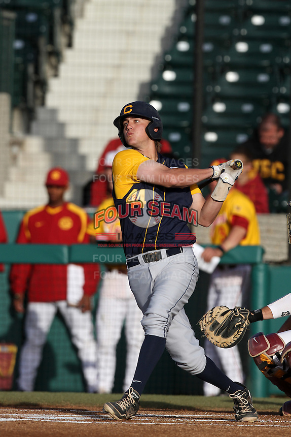 Mitch Delfino #44 of the California Bears bats against the USC Trojans at Dedeaux Field on April 5, 2012 in Los Angeles,California. California defeated USC 5-4.(Larry Goren/Four Seam Images)
