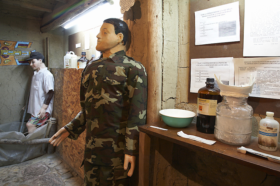 The coca museum in La Paz, Bolivia.  Mock-up of a jungle cocaine lab.