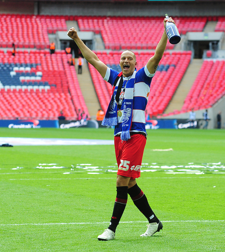 Queens Park Rangers' Bobby Zamora celebrates his sides promotion to the Premier League<br /> <br /> Photographer Chris Vaughan/CameraSport<br /> <br /> Football - The Football League Sky Bet Championship Play-Off Final - Derby County v Queens Park Rangers - Saturday 24th May 2014 - Wembley Stadium - London<br /> <br /> &copy; CameraSport - 43 Linden Ave. Countesthorpe. Leicester. England. LE8 5PG - Tel: +44 (0) 116 277 4147 - admin@camerasport.com - www.camerasport.com