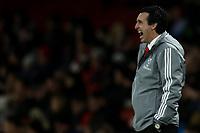 28th November 2019; Emirates Stadium, London, England; UEFA Europa League Football, Arsenal versus Frankfurt; Arsenal Manager Unai Emery gives out instructions - Editorial Use