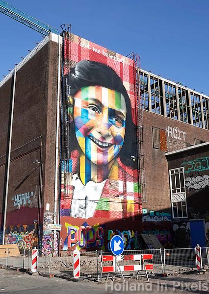 Nederland Amsterdam 2019. De Lasloods op het NDSM Terrein. De Braziliaanse streetartist Eduardo Kobra heeft een monumentaal portret van Anne Frank gemaakt op een van de loodsen. In 2018 opent in de Lasloods het grootste street art museum ter wereld. Foto Berlinda van Dam / Hollandse Hoogte