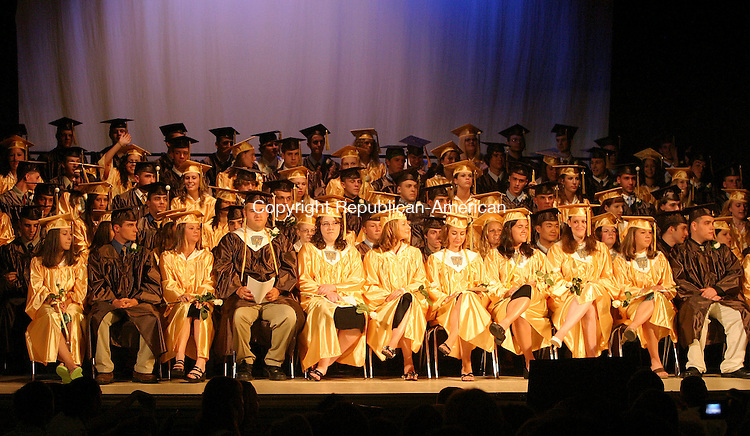 THOMASTON, CT - 16 June 2005- 061605BZ06-Thomaston High School graduates on stage at the Thomaston Opera House during the commencement ceremony Thursday night.   <br /> Jamison C. Bazinet Photo