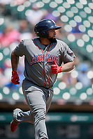 Lehigh Valley IronPigs Deivy Grullon (17) runs to first base during an International League game against the Buffalo Bisons on June 9, 2019 at Sahlen Field in Buffalo, New York.  Lehigh Valley defeated Buffalo 7-6 in 11 innings.  (Mike Janes/Four Seam Images)