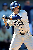 28 February 2010:  FIU's Junior Arrojo (13) bats as the FIU Golden Panthers defeated the Oral Roberts Golden Eagles, 7-6 (10 innings), at University Park Stadium in Miami, Florida.