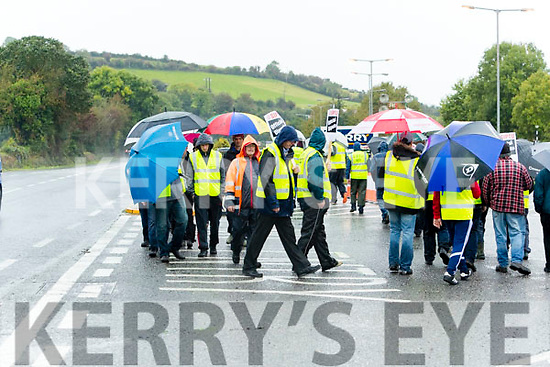 Workers strike at the Kerry Group plant in Listowel on Wednesday Morning.