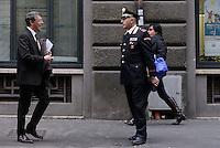 """Roma, 27 Novembre 2015<br /> Raffaele Cantone saluta un carabiniere.<br /> Festival della Legalità: """"Io ho paura """"<br /> Convegno su immigrazione e terrorismo<br /> presso il Centro multimediale dell'Università degli studi Guglielmo Marconi"""