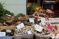 Shellfish for sale on a street near the Gare du Nord in Paris in December.