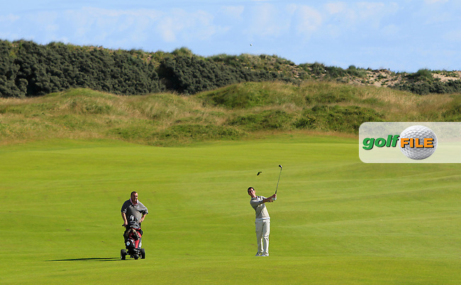 William Russell (Clandeboye) on the 9th fairway during Round 3 of Matchplay in the North of Ireland Amateur Open Championship at Portrush Golf Club, Portrush on Thursday 14th July 2016.<br /> Picture:  Thos Caffrey / www.golffile.ie
