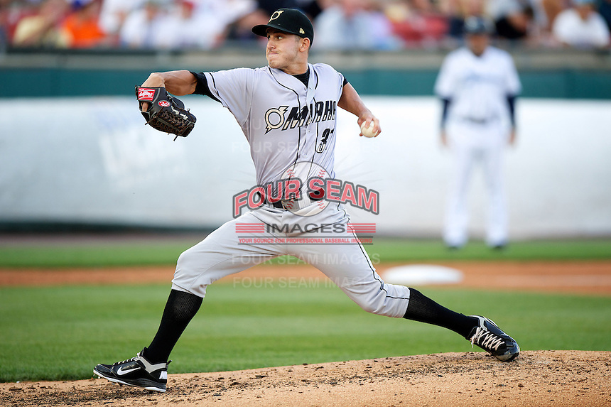 Omaha Storm Chasers pitcher Ryan Verdugo #37 during the Triple-A All-Star game featuring the Pacific Coast League and International League top players at Coca-Cola Field on July 11, 2012 in Buffalo, New York.  PCL defeated the IL 3-0.  (Mike Janes/Four Seam Images)
