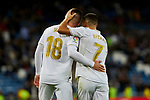Luka Jovic (L) and Eden Hazard (R) of Real Madrid celebrate goal during La Liga match between Real Madrid and CD Leganes at Santiago Bernabeu Stadium in Madrid, Spain. October 30, 2019. (ALTERPHOTOS/A. Perez Meca)