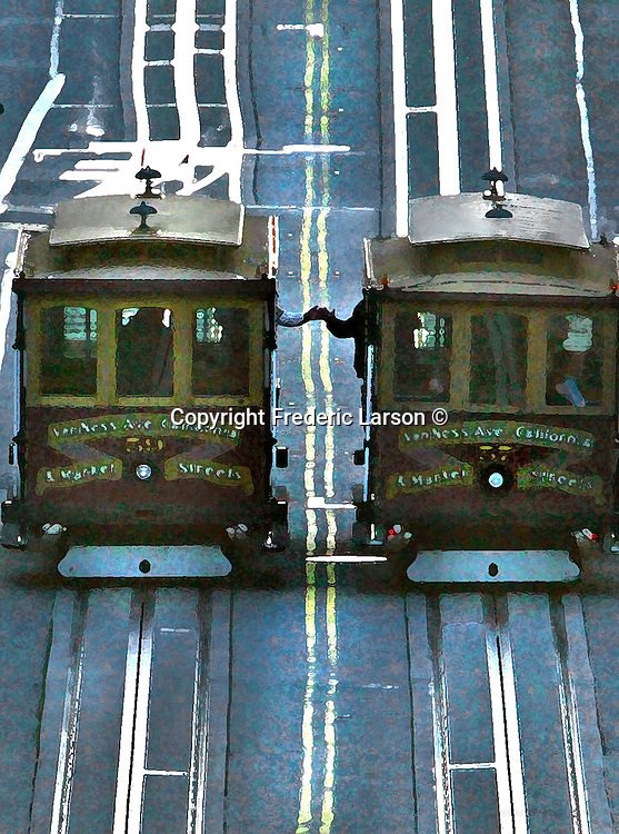 "San Francisco cable car grib-men along the California Street line greet each other with good-morning ""high five."""