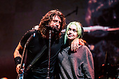 FOO FIGHTERS - Dave Grohl and his daughter Violet Grohl - performing live at the 2019 Leeds Festival at Bramham Park Wetherby Leeds UK - 23 Aug 2019.  Photo credit: Tony Woolliscroft/IconicPix/ AtlasIcons.com
