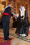 Presentation of credentials from Ambassadors to The King of Spain Juan Carlos I in the credentials room of the Royal Palace. In the picture Prince Mansur Bin Khaled Al-Farhan Al-Saud, Ambassador from Kingdom of Saudi Arabia giving his credentials to to The King of Spain Juan Carlos I .June 21,2012. (ALTERPHOTOS/Ricky)