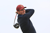 Monty Scowsill (ENG) on the 1st tee during Round 1of the Flogas Irish Amateur Open Championship 2019 at the Co.Sligo Golf Club, Rosses Point, Sligo, Ireland. 16/05/19<br /> <br /> Picture: Thos Caffrey / Golffile<br /> <br /> All photos usage must carry mandatory copyright credit (© Golffile | Thos Caffrey)