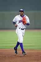 Winston-Salem Dash center fielder Luis Alexander Basabe (16) jogs off the field between innings of the game against the Buies Creek Astros at BB&T Ballpark on April 13, 2017 in Winston-Salem, North Carolina.  The Dash defeated the Astros 7-1.  (Brian Westerholt/Four Seam Images)
