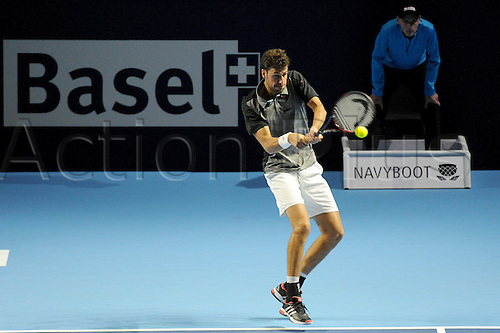23.10.2016.  St. Jakobshalle, Basel, Switzerland. Basel Swiss Indoors Tennis Championships. Qualifying Day 2. Robin Haase in action in the match between Stefanos Tsitsipas of Greece and Robin Haase of the Netherlands