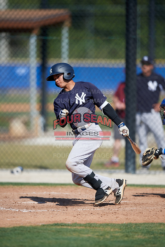New York Yankees Jesus Bastidas (18) during a Minor League Spring Training game against the Toronto Blue Jays on March 18, 2018 at Englebert Complex in Dunedin, Florida.  (Mike Janes/Four Seam Images)