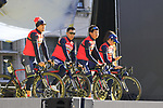 Bahrain-Merida team on stage at sign on before the 101st edition of the Tour of Flanders 2017 running 261km from Antwerp to Oudenaarde, Flanders, Belgium. 26th March 2017.<br /> Picture: Eoin Clarke | Cyclefile<br /> <br /> <br /> All photos usage must carry mandatory copyright credit (&copy; Cyclefile | Eoin Clarke)