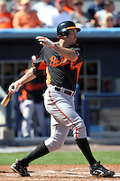 Baltimore Orioles first baseman Nick Johnson #36 during a spring training game against the Tampa Bay Rays at the Charlotte County Sports Park on March 5, 2012 in Port Charlotte, Florida.  (Mike Janes/Four Seam Images)