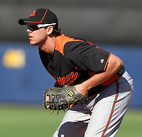 Baltimore Orioles first baseman Jeff Larish #92 in the field during a spring training game against the Tampa Bay Rays at the Charlotte County Sports Park on March 5, 2012 in Port Charlotte, Florida.  (Mike Janes/Four Seam Images)