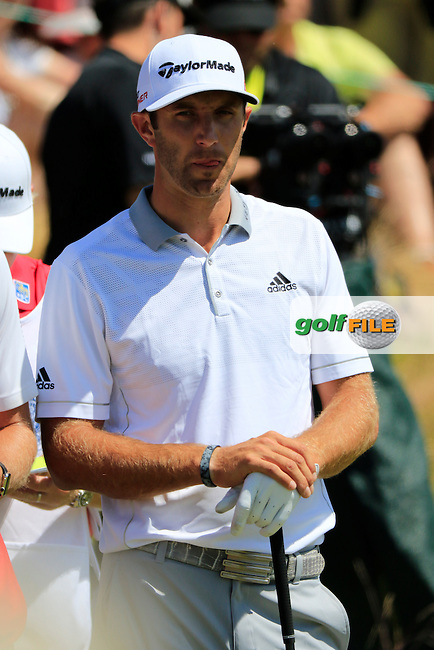 Dustin JOHNSON (USA) on off the 1st tee to start his match during Sunday's Final Round of the 2015 U.S. Open 115th National Championship held at Chambers Bay, Seattle, Washington, USA. 6/21/2015.<br /> Picture: Golffile | Eoin Clarke<br /> <br /> <br /> <br /> <br /> All photo usage must carry mandatory copyright credit (&copy; Golffile | Eoin Clarke)
