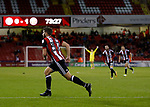 Ched Evans of Sheffield Utd turns to celebrate scoring the equalising goal during the Carabao Cup First Round match at Bramall Lane Stadium, Sheffield. Picture date: August 9th 2017. Pic credit should read: Simon Bellis/Sportimage