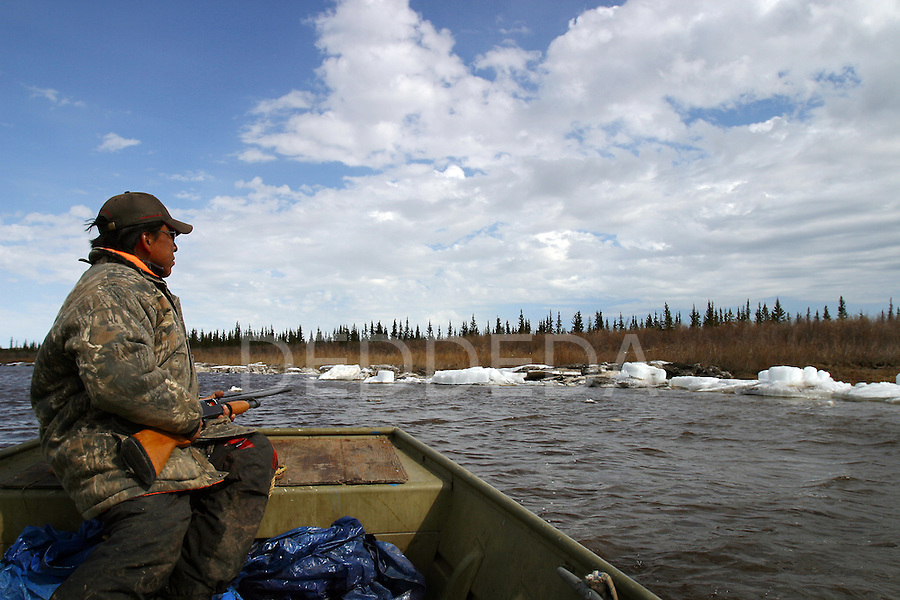 Dougie Charlie hunts Porcupine caribou, his nation's major food source, on the Porcupine River near Old Crow, Yukon Territory, Canada.