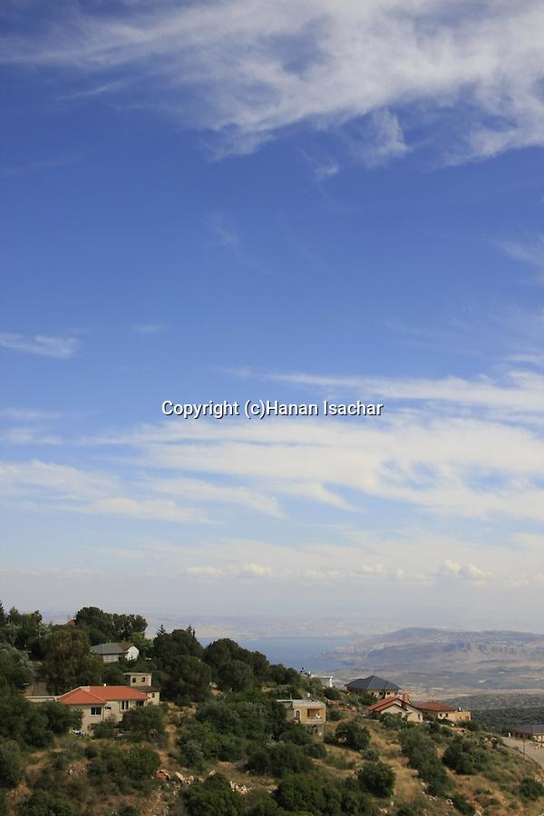 Israel, Upper Galilee, Moshav Amirim overlooking the Sea of Galilee