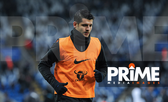 Alvaro Morata of Chelsea pre match during the FA Cup QF match between Leicester City and Chelsea at the King Power Stadium, Leicester, England on 18 March 2018. Photo by Stephen Buckley / PRiME Media Images.