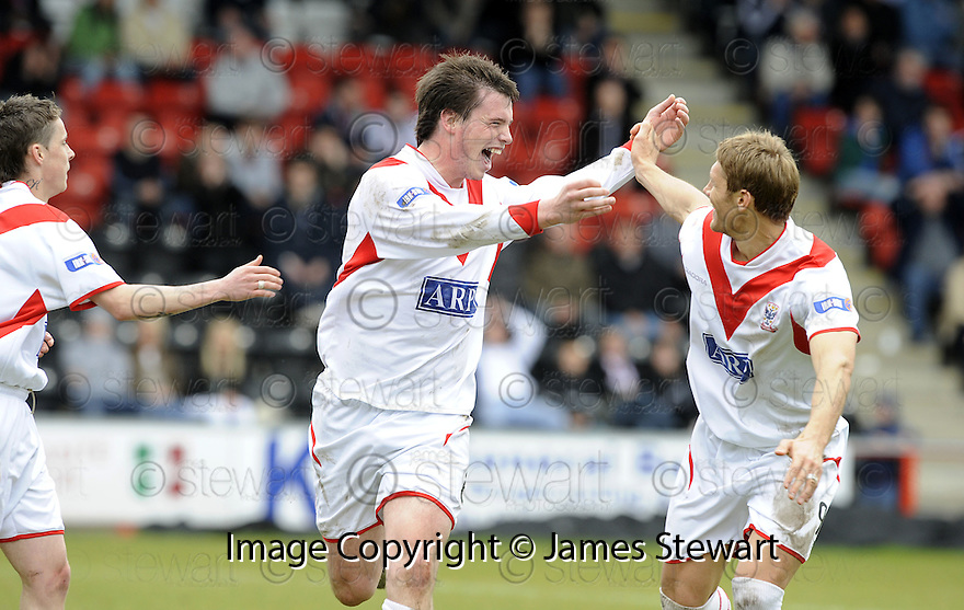 03/05/2008   Copyright Pic: James Stewart.File Name : sct_jspa10_airdrie_v_raith.BOBBY DONNELLY CELEBRATES WITH ALLAN RUSSELL AFTER HE SCORES AIRDRIE'S SECOND.James Stewart Photo Agency 19 Carronlea Drive, Falkirk. FK2 8DN      Vat Reg No. 607 6932 25.Studio      : +44 (0)1324 611191 .Mobile      : +44 (0)7721 416997.E-mail  :  jim@jspa.co.uk.If you require further information then contact Jim Stewart on any of the numbers above........