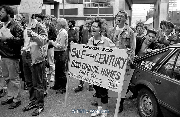 Residents protest outside City Hall at Westminster City Council's plans to sell of council housing, part of the 'Homes for Votes' policy devised by Lady Shirley Porter and Councillors Judith Warner, Peter Hartley and Michael Dutt.