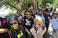 PORTLAND, OR - AUGUST 04: Joey Gibson (center) leads other Far-Right protesters at arally for gun rights' laws and free speech on August 4, 2018 in Portland, Oregon. (Photo by Karen Ducey/Getty Images)