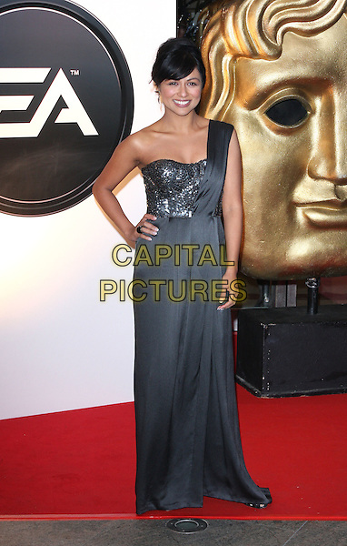 KAREN DAVID.EA British Academy Children's Awards 2010 at the Hilton Hotel, Park Lane, London - .November 28th 2010.bafta baftas full length silver grey gray maxi one shoulder dress hand on hip sequins sequined .CAP/ROS.©Steve Ross/Capital Pictures