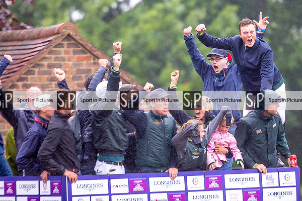 Winners. Irish team. Celebrating. Showjumping. Longines FEI Jumping Nations Cup of Great Britain at the BHS Royal International Horse Show. All England Jumping Course. Hickstead. Great Britain. 29/07/2018. ~ MANDATORY Credit Elli Birch/Sportinpictures - NO UNAUTHORISED USE - 07837 394578