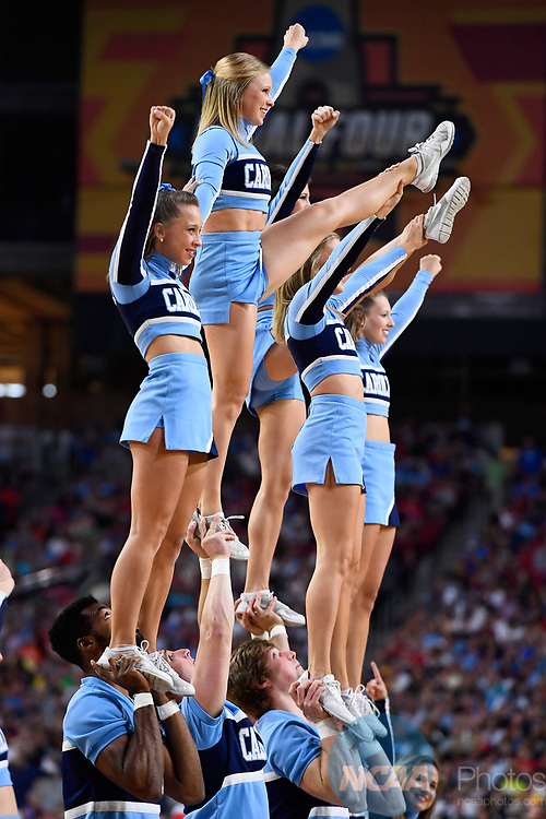GLENDALE, AZ - APRIL 03: The North Carolina Tar Heels spirit team performs during the 2017 NCAA Men's Final Four National Championship game against the Gonzaga Bulldogs at University of Phoenix Stadium on April 3, 2017 in Glendale, Arizona.  (Photo by Brett Wilhelm/NCAA Photos via Getty Images)
