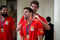 The reception of Prime Minister Mariano Rajoy to Spain national basketball team gold at EuroBasket 2015 at Moncloa Palace in Madrid, 21 September, 2015.<br /> Nikola Mirotic, Pau Gasol and Felipe Reyes.<br /> (ALTERPHOTOS/BorjaB.Hojas) /NortePhoto.com