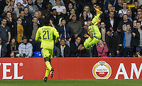 Imoh Ezekiel of R.S.C Anderlecht celebrates scoring his goal with a summersault during the UEFA Europa League Group J match between Tottenham Hotspur and R.S.C. Anderlecht at White Hart Lane, London, England on 5 November 2015. Photo by Andy Rowland.