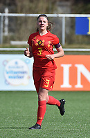 20180326 - ZALTBOMMEL , THE NETHERLANDS : Belgian Romy Camps pictured during the UEFA Women Under 17 Elite round game between Belgium WU17 and Romania WU17, on the second matchday in group 1 of the Uefa Women Under 17 elite round in The Netherlands , monday 26 th March 2018 . PHOTO SPORTPIX.BE    DIRK VUYLSTEKE