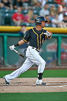 Quintin Berry (19) of the Salt Lake Bees at bat against the Tacoma Rainiers in Pacific Coast League action at Smith's Ballpark on July 22, 2016 in Salt Lake City, Utah. The Rainiers defeated the Bees 8-3. (Stephen Smith/Four Seam Images)