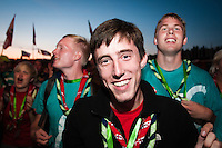 Danish scout is having a wonderful time at the IST opening show. Photo: Audun Ingebrigtsen/Scouterna