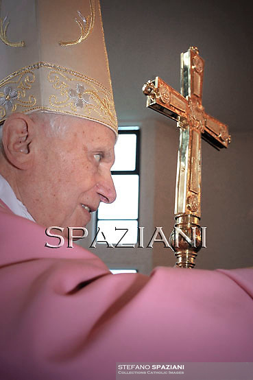 Pope Benedict XVI during  for a pastoral visit to the Roman Parish of St. Maximilian Kolbe on December 12, 2010 in Rome. Maximilian Kolbe was a Polish Franciscan friar who volunteered to die in place of a stranger in the Nazi concentration camp of Auschwitz in Poland in 1941.