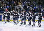 February 20, 2016 - Colorado Springs, Colorado, U.S. -   Robert Morris Colonials during the National Anthem prior to an NCAA ice hockey game between the Robert Morris University Colonials and the Air Force Academy Falcons at Cadet Ice Arena, United States Air Force Academy, Colorado Springs, Colorado.  Air Force defeats Robert Morris 4-1