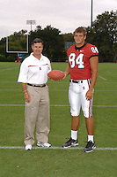 7 August 2006: Stanford Cardinal head coach Walt Harris and Austin Gunder during Stanford Football's Team Photo Day at Stanford Football's Practice Field in Stanford, CA.
