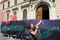 Roma, 11 Maggio 2012<br /> Ambasciata di Germania<br /> Protesta contro i divieti di manifestare imposti dalla Germania per i giorni delle mobilitazioni a Francoforte.<br /> Dal 16 al 19 maggio i movimenti sociali tedeschi hanno convocato una mobilitazione a Francoforte contro le politiche di austerity imposte dall&rsquo;Unione Europea.