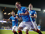 Lee McCulloch celebrates after putting Rangers ahead with Andy Little and Fraser Aird