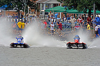 Restart, heat #2 (L to R): Tim Seebold (#16) and Jose Mendana (#21).