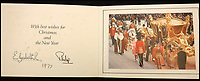 BNPS.co.uk (01202 558833)<br /> Pic: MooreAllen&amp;Innocent/BNPS<br /> <br /> The Queen and Prince Philip's 1977 card.<br /> <br /> A comprehensive collection of Christmas cards sent by the Queen and Prince Philip over a 30 year period have emerged to highlight the fascinating changes of the Royal Family.<br /> <br /> The 31 greetings cards carry various images of the Royal couple on the front along with different members of their family.<br /> <br /> They were sent every year without fail from 1971 through to 2001 to the unnamed recipient, who was clearly an acquaintance of the Queen.<br /> <br /> The first card features a formal photograph of the Queen, the Duke of Edinburgh, a 23-year-old Prince Charles, Princess Anne, Prince Andrew, aged 11 and seven-year-old Prince Edward.<br /> <br /> They are being sold in Cirencester on Friday.
